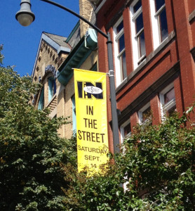 A sign advertises Frederick's In the Street Festival.