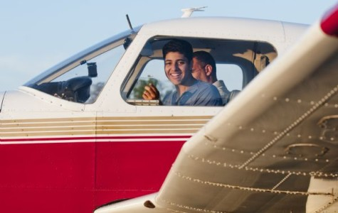 Junior Youssef Selim takes the Piper Warrior out for a flight. Selim received his Student Pilot License when he turned sixteen, bringing him one step closer to his dream of becoming a commercial pilot.