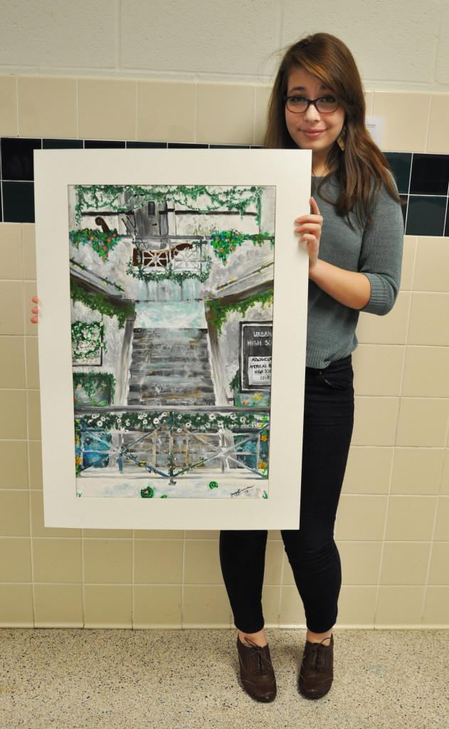 Kerecman with her painting.