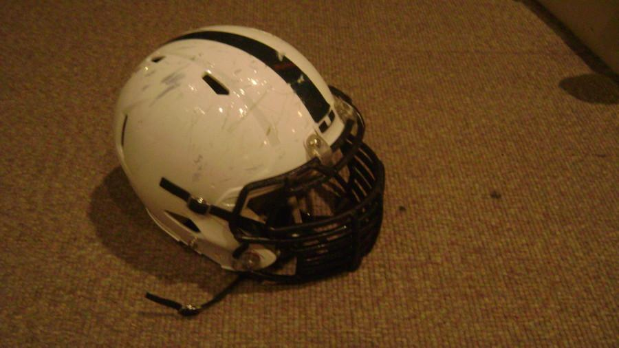 An Urbana High School football helmet.