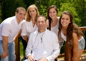 The Schlesinger family (top left to right) Michael, Lisa, Jenna, Megan, and (center) David.