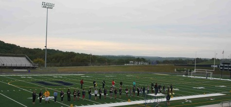 The Marching band takes advantage of the new turf field, Legacy Field.