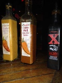 Nando's hot sauce from mildest to hottest.