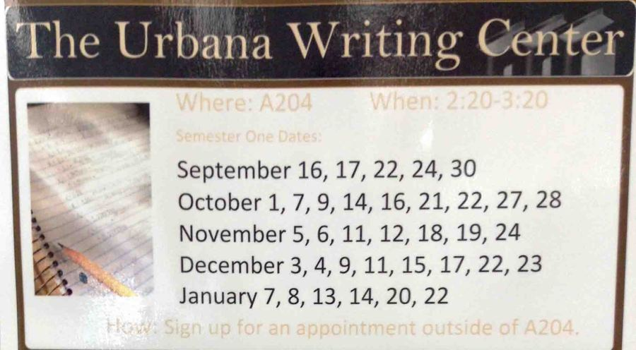 Schedule for the Urbana Writing Center.