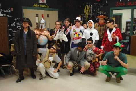 On the Wednesday leading up to the competition, Mr. Urbana participants dressed up as movie characters. (Back row, left to right) JP Kim: Spartan Solider, Connor Wills: Harry Potter, Jacob Mittereder: Gladiator, Win Mckeever: Ricky Bobby, Cody Wilcox: Olaf, Zach Cummings: Woody, Brian Dailey: Austin Powers; (front row, left to right), Joey Mejia: Jack Sparrow, Greg Kuver: Alan Garner, Emmanuel Apea: Samuel L Jackson, Steven Mick: Ace Ventura and Andy Moss: Peter Pan.