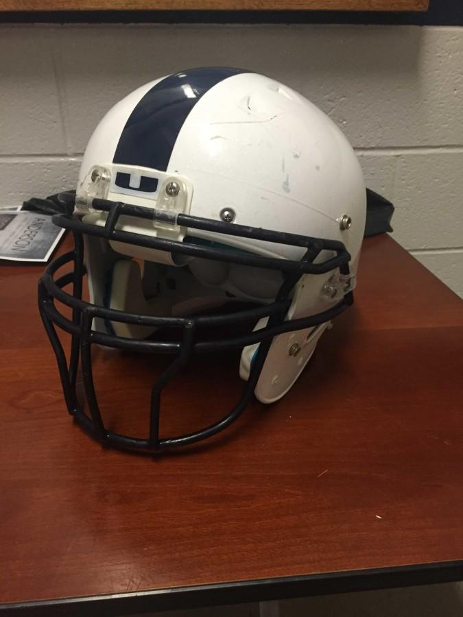 Urbana's football helmet worn this season.