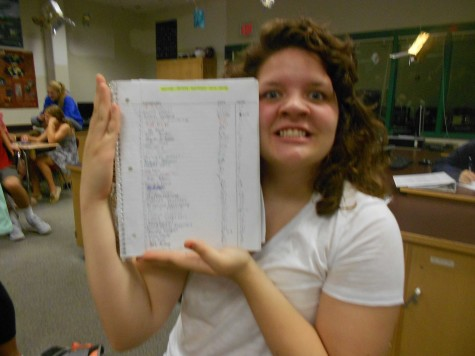 Olivia Madaras posing with the written form of her petition.