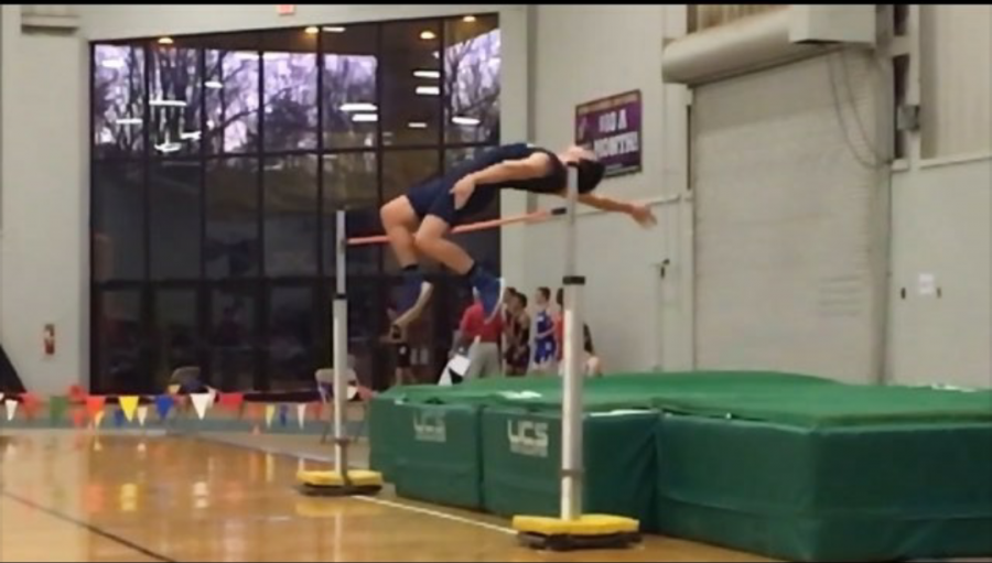 Holson competes in the high jump at Hagerstown Community College