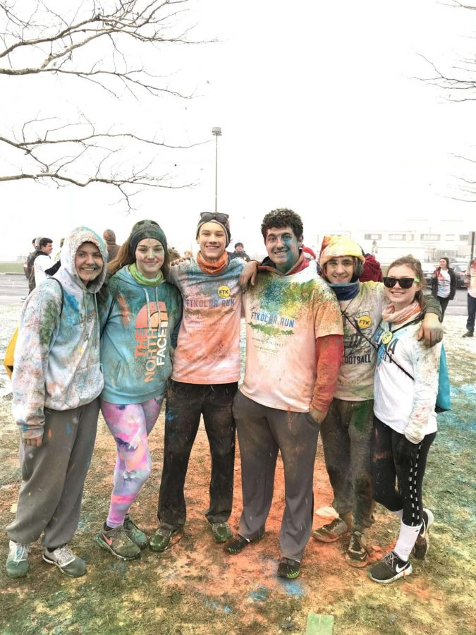Emily Lott, Jenna Harpole, James Kelly, Charlie Giglio, and Audrey Stedman participate in UHS Color Run. Photo credits to a kind stranger.