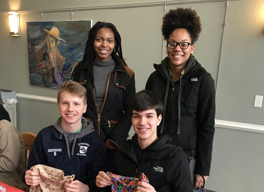 Students at MLK Day of Service at Bernard Community Center