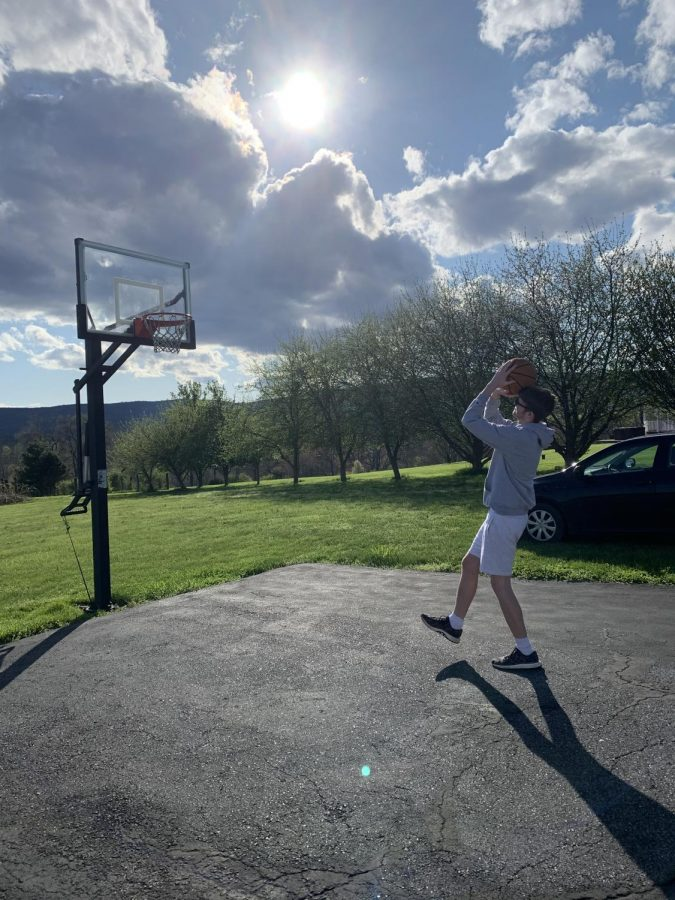 Urbana High Student spends first day of spring break outside instead of on computer doing Distance Learning!