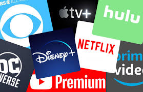 Icons of many popular streaming platforms.